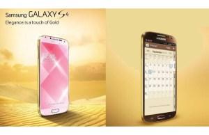 Un Samsung Galaxy S4 en or.