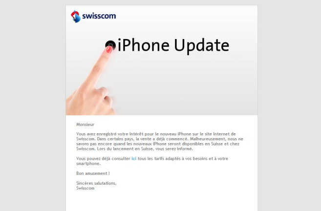 Swisscom invente l'«iPhone Update». Bravo encore!