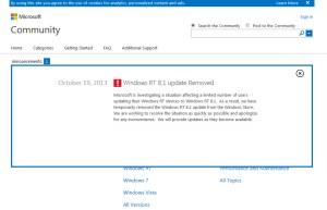Microsoft interrompt le processus de mise à jour vers Windows RT 8.1.