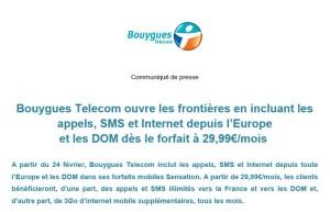 Bouygues Telecom a complété son communiqué de presse dans l'après-midi.