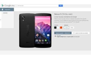 Le Nexus 5 sur le Google Play.