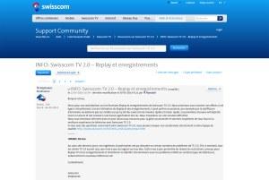 Replay sur Swisscom TV 2.0: certains problèmes semblent résolus.