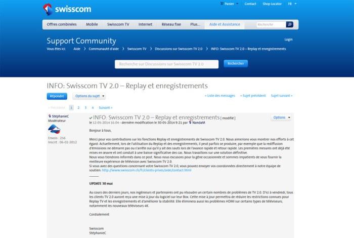Replay sur Swisscom TV 2.0: certains problèmes seraient résolus.