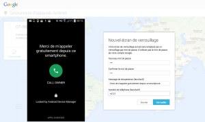 Montage: le message reçu sur un Samsung et l'interface web utilisée.