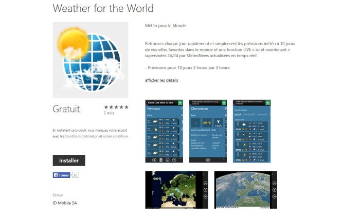 Weather for the World d'ID Mobile: pour la France et le monde entier.