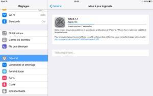 Apple iOS 8.1.1 est vite installé.