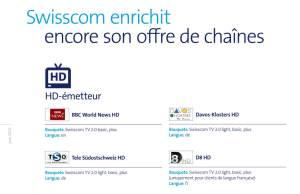Swisscom améliore notamment son offre HD.