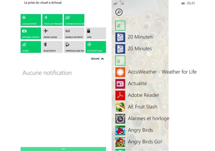 Windows Mobile 10: un centre de notifications plus complet.