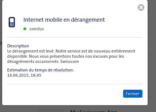 Panne d'internet mobile: Swisscom a retiré très rapidement ce message de son site web. Le dérangement a duré près de deux heures.