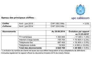 "UPC Cablecom signe un semestre ""satisfaisant""."