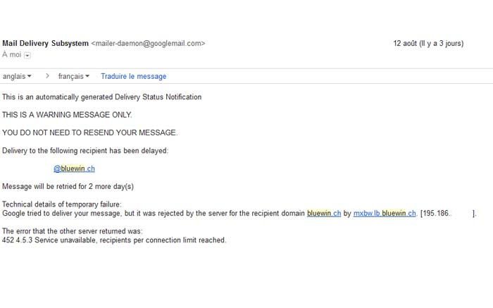 Le message d'erreur envoyé de Bluewin sur Gmail.