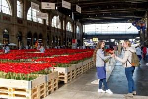 Swisscom offre des fleurs à Zurich.