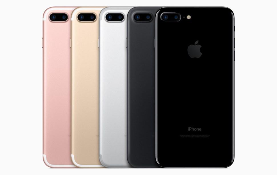 La gamme des iPhone 7 Plus d'Apple.