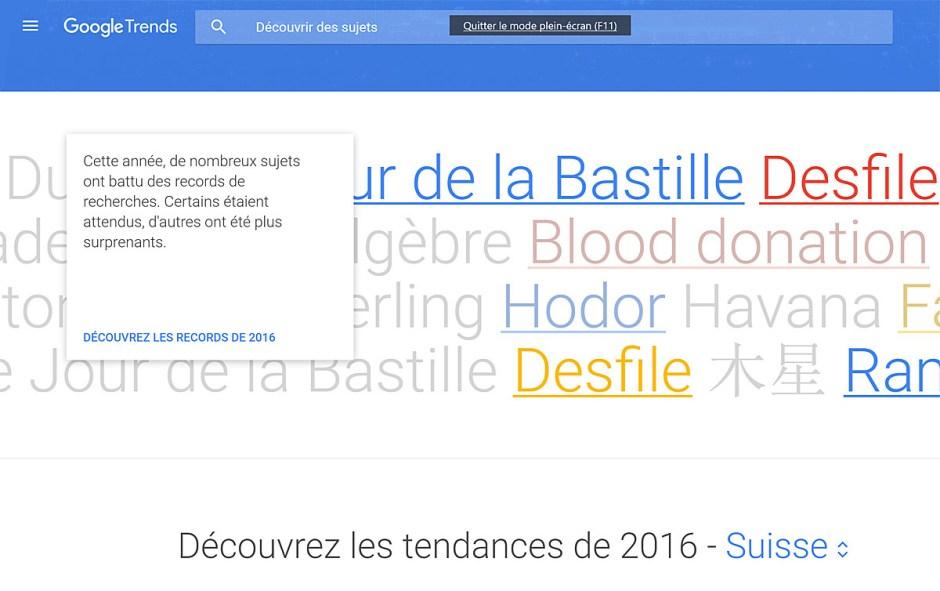 Google Trends donne les dernières tendances sur la toile.