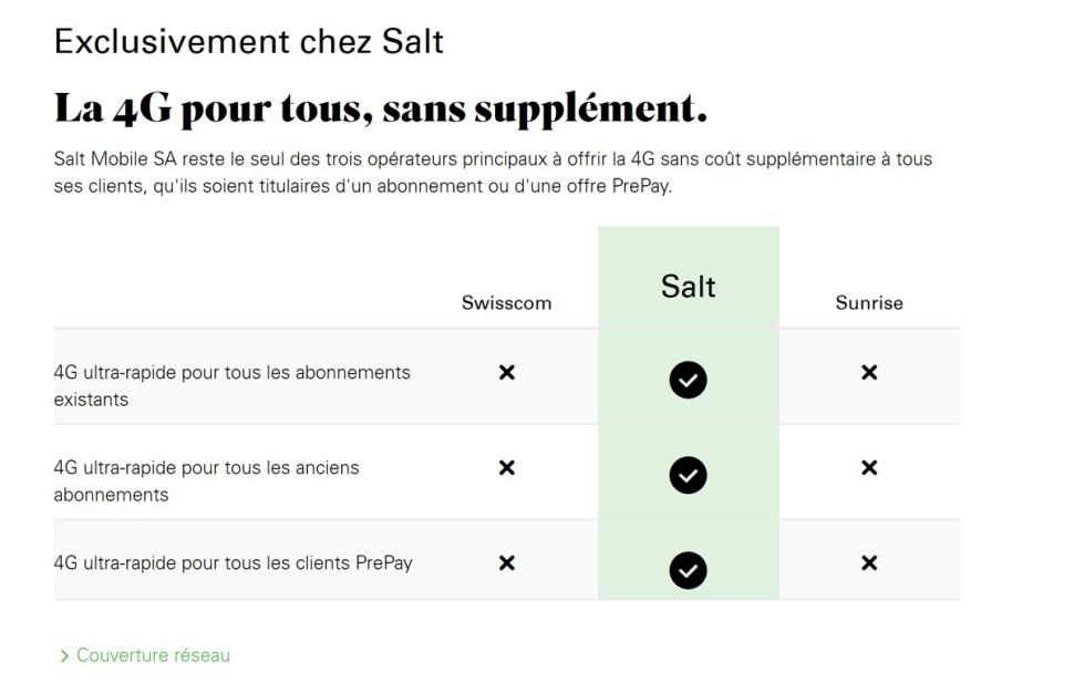 Salt promet la 4G ultra-rapide pour tous. Chez Swisscom, il faut payer pour obtenir plus de débit.