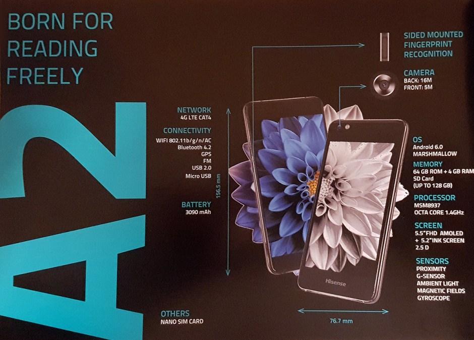 Un extrait de la fiche technique du Hisense A2, le smartphone liseuse.