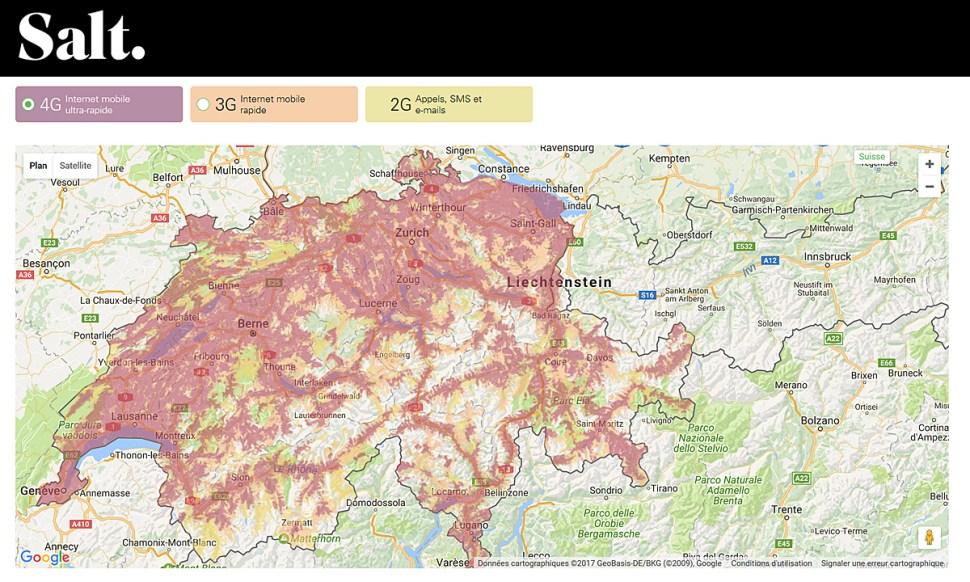Réseau mobile: la couverture 4G de Salt en Suisse.