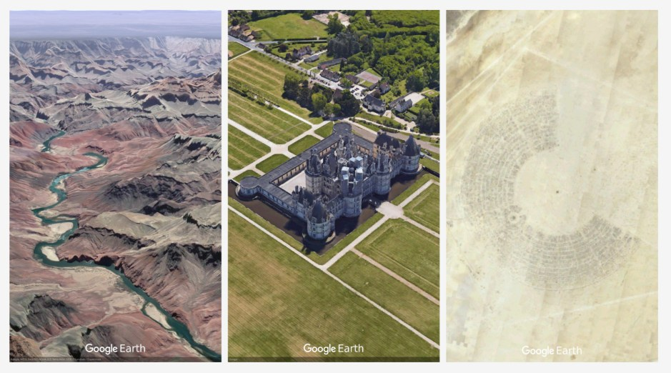 Postcards.png Postcards from Earth: Grand Canyon, Château de Chambord, Burning Man.