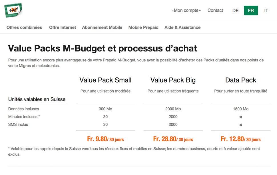 Les packs d'unités M-Budget sont disponibles dans les Migros et Melectronics.