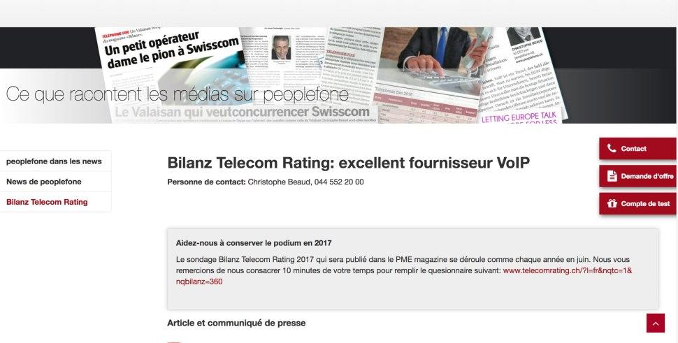 Lorsque les opérateurs invitent leurs clients à participer au Bilanz Telekom Rating 2017...
