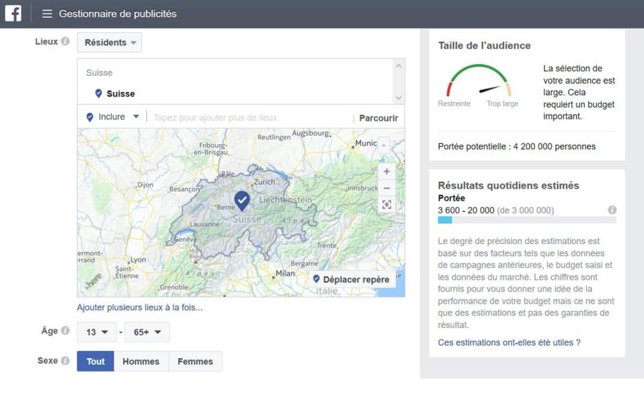 Le nombre d'inscrits à Facebook résidents en Suisse, selon sa régie publicitaire.