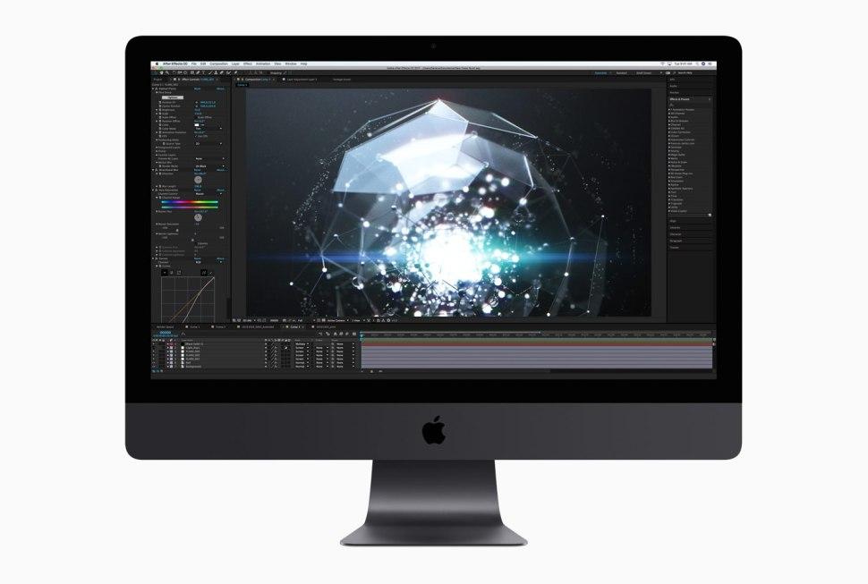 iMac Pro de base: Intel Xeon W 8 cœurs à 3,2 GHz, Turbo Boost jusqu'à 4,2 GHz, 32 Go de mémoire ECC DDR4 à 2 666 MHz, SSD de 1 To, Radeon Pro Vega 56 avec 8 Go de mémoire HBM2.