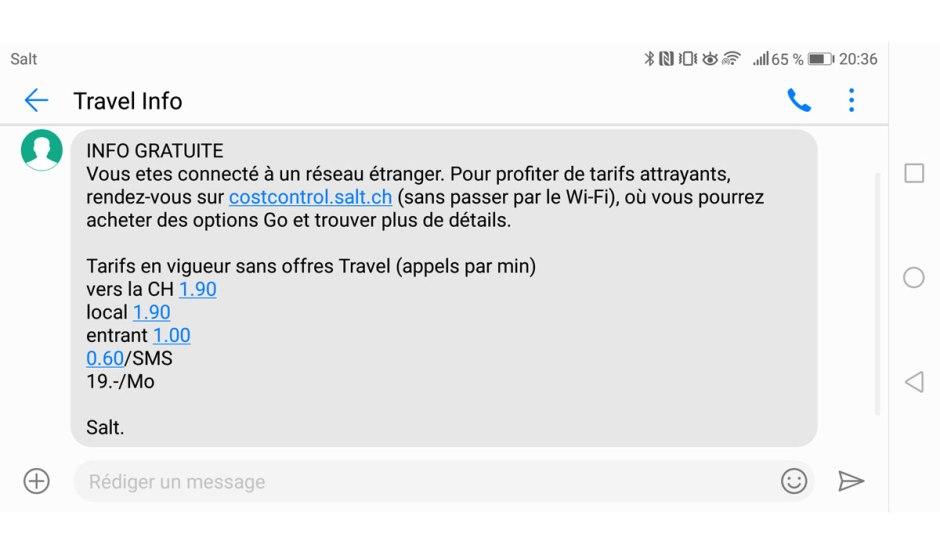 Salt facture le Mo 19 francs en roaming prépayé. Il juge ce tarif «attrayant » !