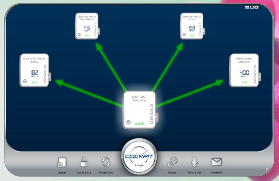 Le logiciel Devolo Cockpit permet d'administrer ses différents modules (Wi-Fi ou non) connectés aux prises électriques de la maison.