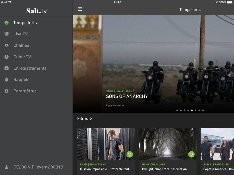 Salt TV propose des temps forts. Test sur l'iPad 6.