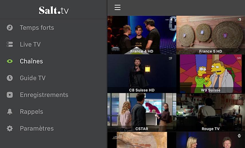 Salt TV: les vignettes des chaînes TV en direct.