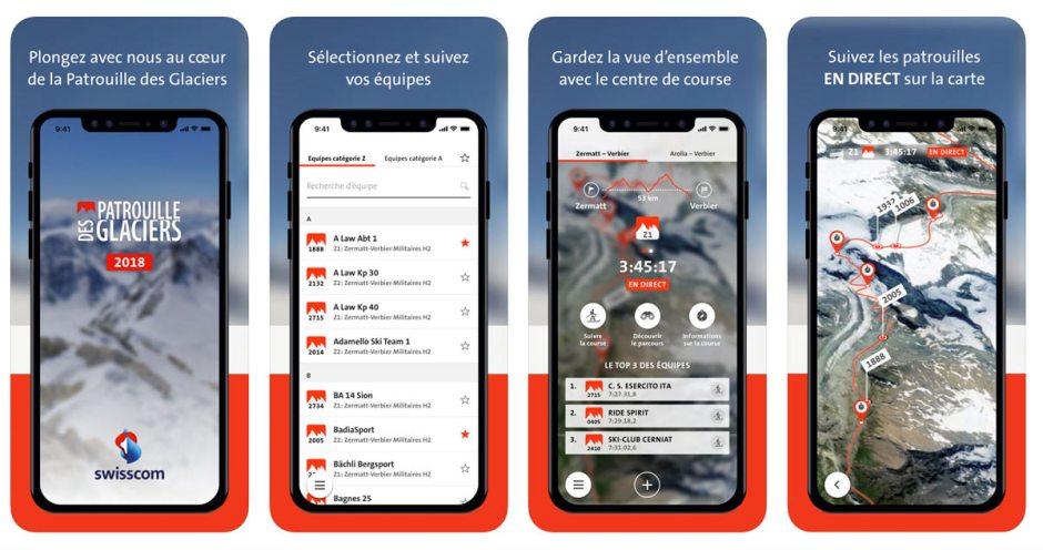 Swisscom propose une nouvelle fois l'application de la Patrouille des glacier, PDG 2018.