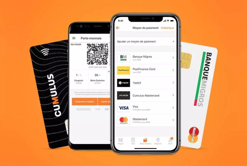 L'application de la Migros remplace: Cumulus, bons, coupons, tickets… et sa carte de paiement, comme la Postcard, ou l'application Twint.