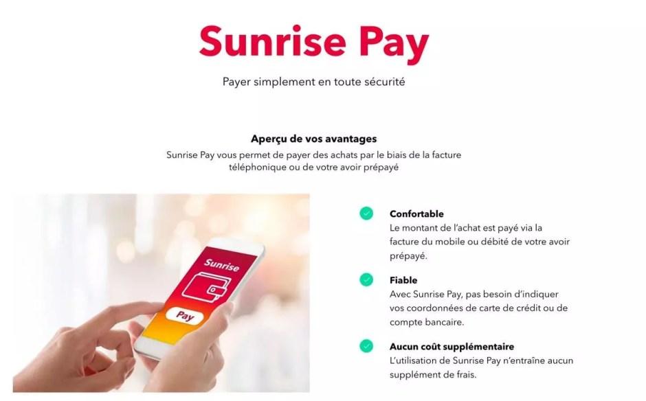 Sunrise Pay pour faire rapidement ses achats sur les produits Apple.