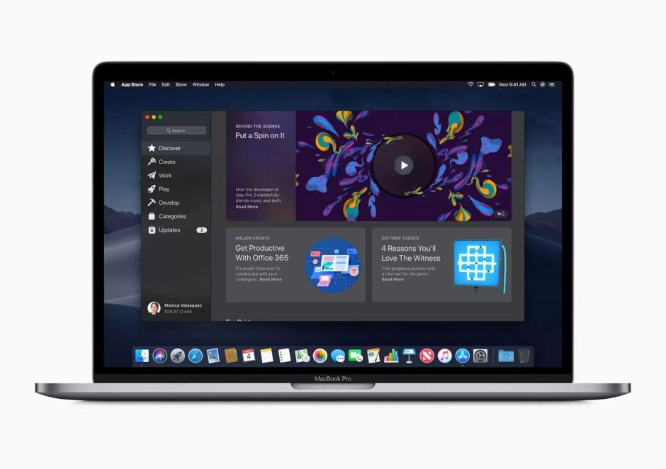 Le nouveau Mac App Store sur macOS Mojave.