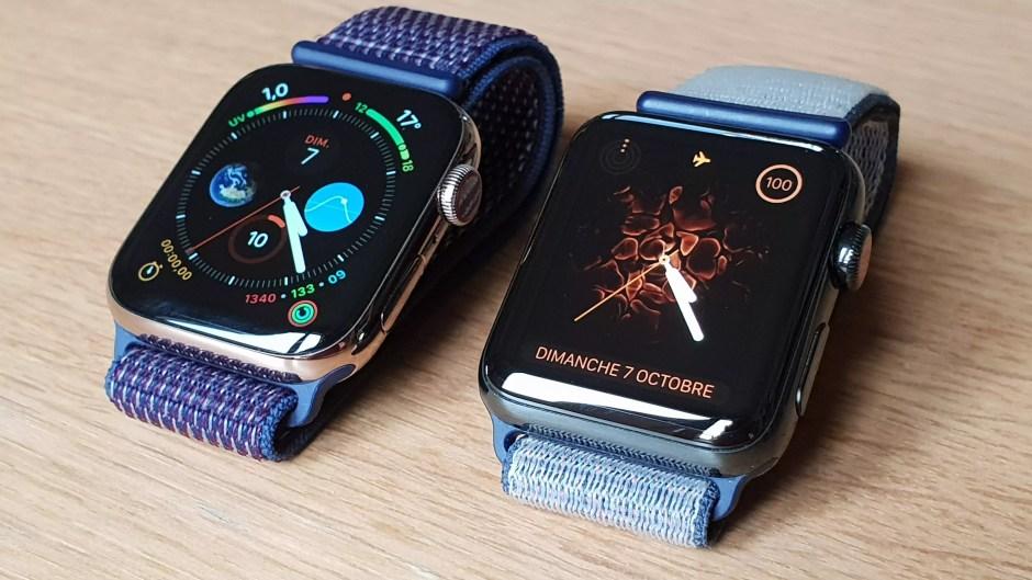 L'Apple Watch series 4 cellulaire (à gauche) à côté de la series 3.