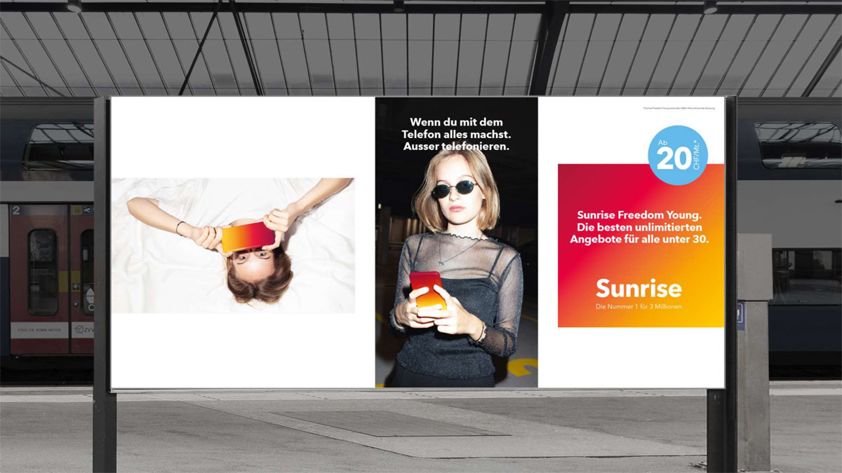 La campagne de pub Sunrise Freedom Young.