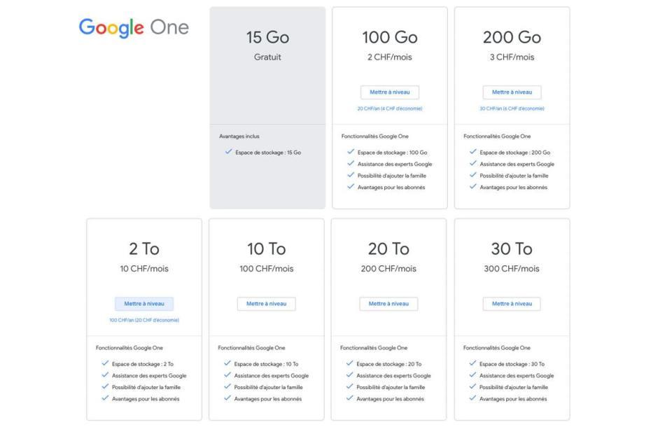 Les tarifs suisses de Google One.