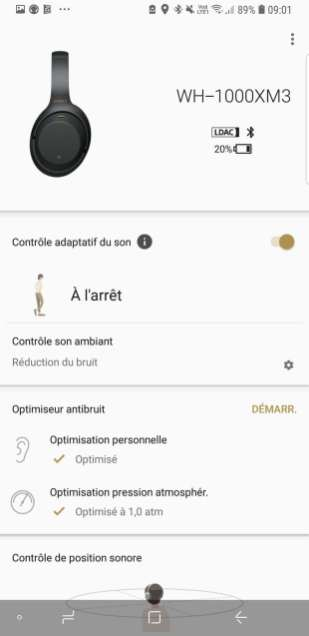 Sony WH-1000X M3: l'application Headphones Connect.