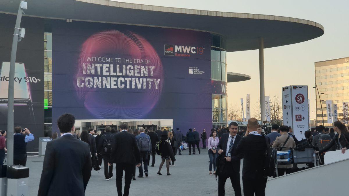 L'entrée du Mobile World Congress (MWC) en 2019.