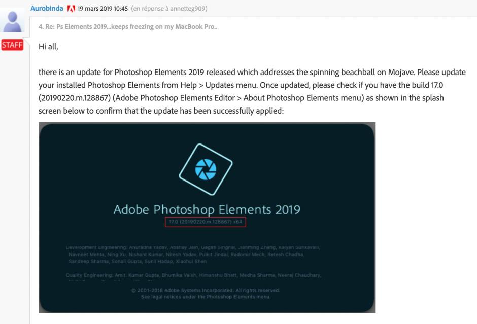 Adobe corrige enfin de gros bugs qui paralysaient Photoshop Elements 2019...