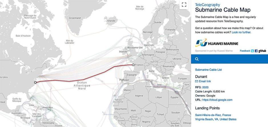Le câble sous-marin «Dunant» de Google mesurera au moins 6400 Km en 2020.