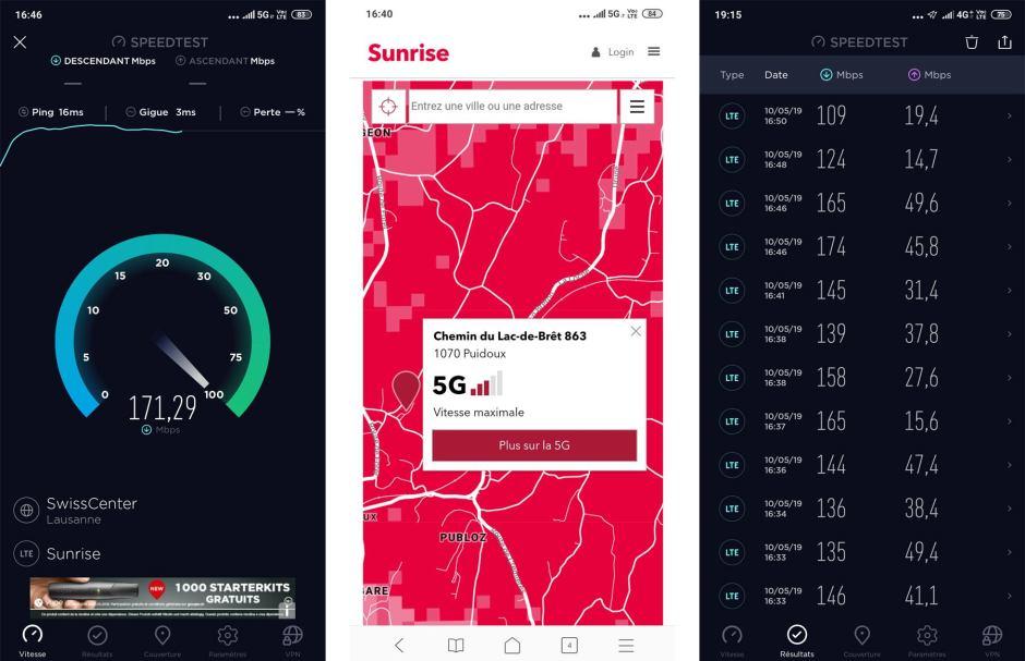 A fond la 5G sur le réseau de Sunrise, le plus avancé de Suisse! Pour changer, l'application Ookla n'est pas à jour (LTE)...