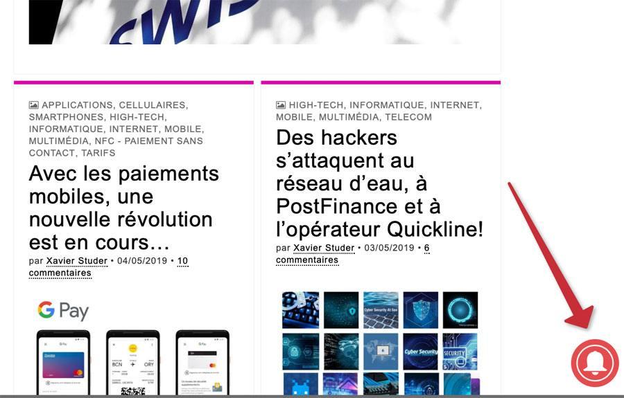 Nouveau système de notifications sur www.xavierstuder.com.