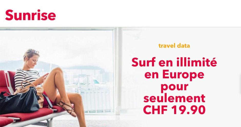 Sunrise Travel data unlimited Europe est déjà disponible pour 19,90 francs par mois.