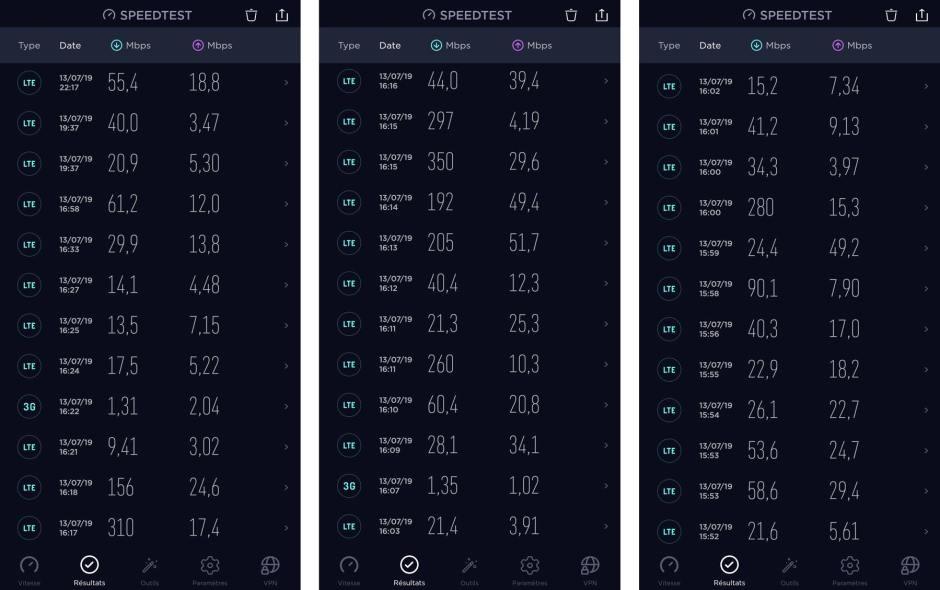 """Quelques mesures dans le pays de la 5G autour de Promasens (FR). L'outil de mesure Ookla n'étant pas à jour, """"5G"""" ne'affiche pas, même si ce réseau a été utilisé..."""