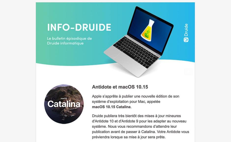 Catalina: le 19 septembre, Druide mettait en garde ses utilisateurs...
