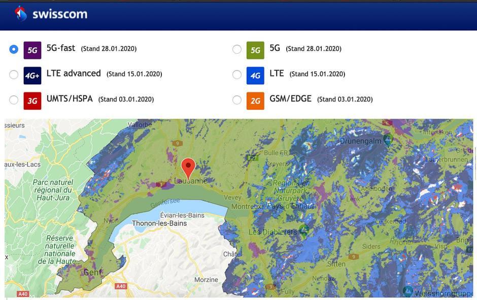 Avec l'équipementier Ericsson, Swisscom réalise un excellent travail en matière de 5G en couvrant déjà presque toute la Suisse. Remarquable.