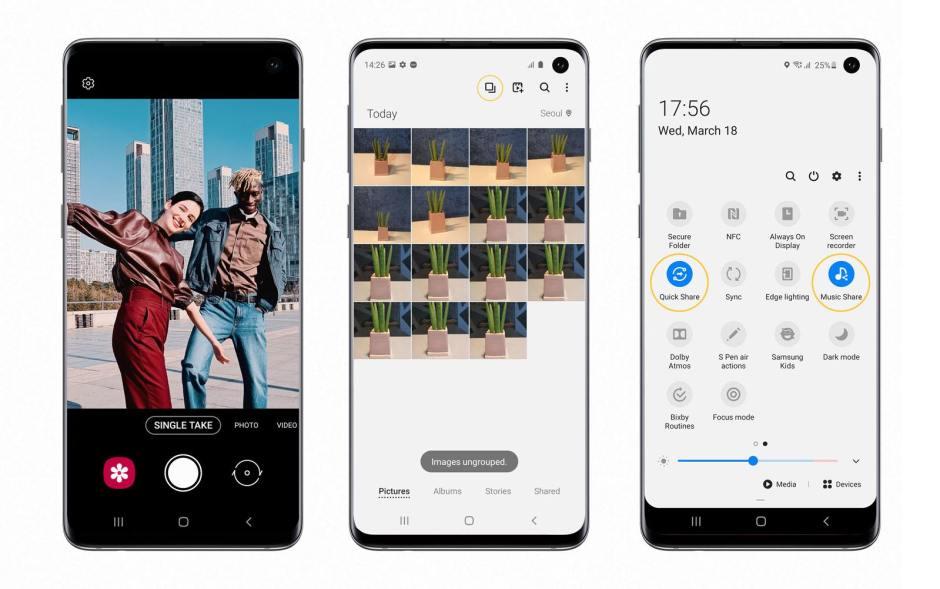 Nouvelles fonctionnalités pour le Samsung Galaxy S10.