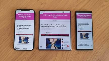 Le Samsung Galaxy Z Fold 2 5G encadré de l'Apple iPhone 12 Pro Max et du Sony Xperia 5.
