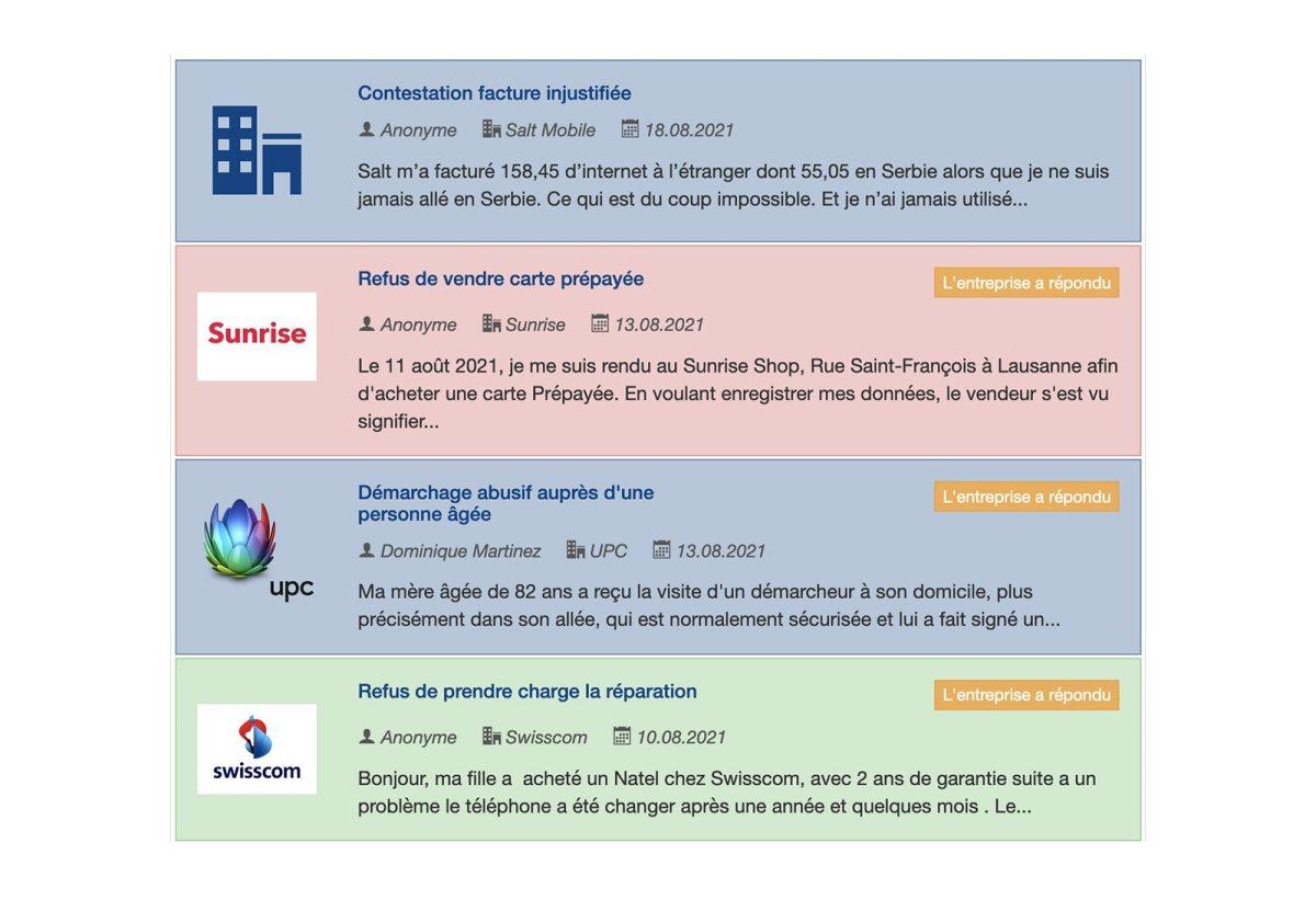 Pour se faire une idée des problèmes chez les opérateurs: plaintes.ch.
